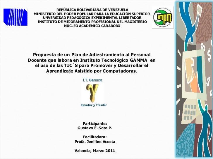 REPÚBLICA BOLIVARIANA DE VENEZUELA MINISTERIO DEL PODER POPULAR PARA LA EDUCACIÓN SUPERIOR  UNVERSIDAD PEDAGÓGICA EXPERIME...