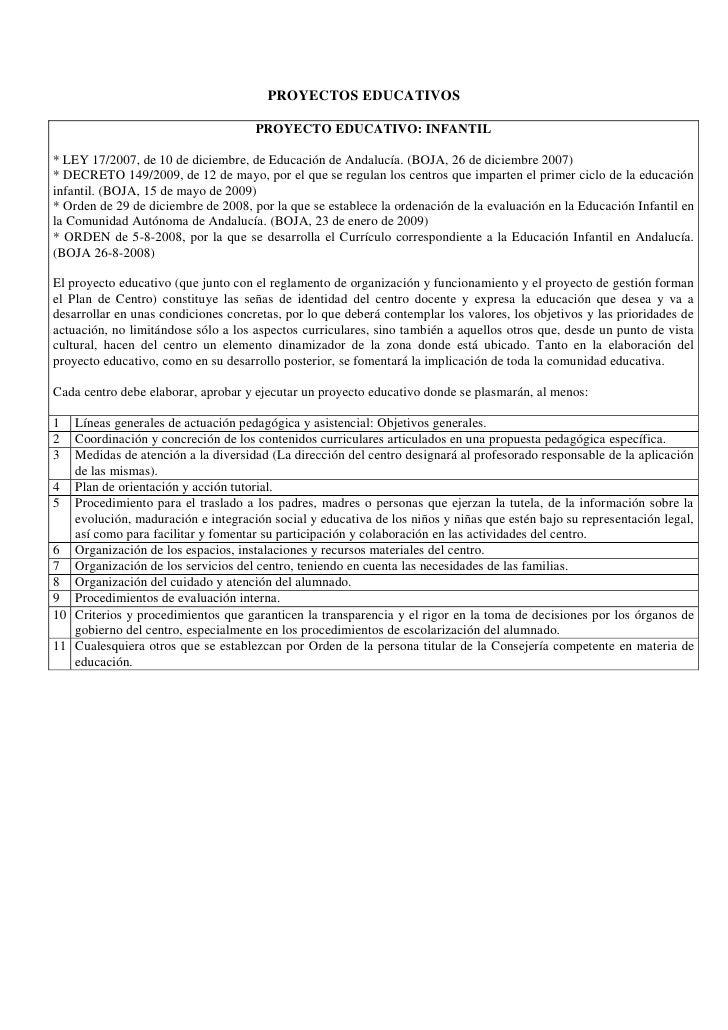 PROYECTOS EDUCATIVOS                                       PROYECTO EDUCATIVO: INFANTIL  * LEY 17/2007, de 10 de diciembre...
