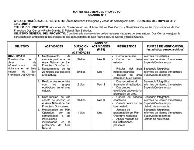 MATRIZ RESUMEN DEL PROYECTO. CUADRO Nº 7 AREA ESTRATÉGICADEL PROYECTO: Áreas Naturales Protegidas y Zonas de Amortiguamien...