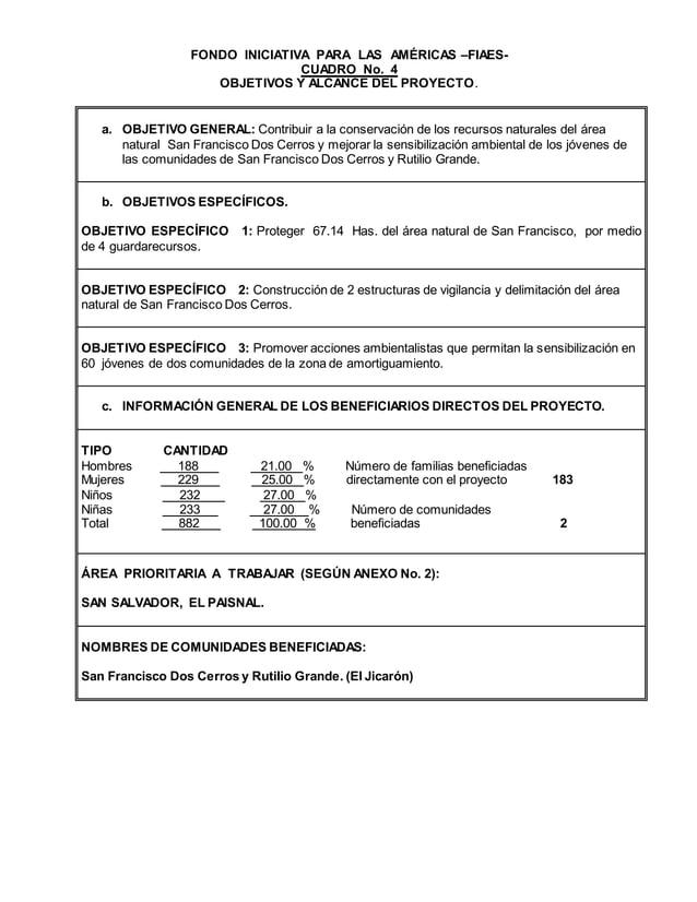 FONDO INICIATIVA PARA LAS AMÉRICAS –FIAES- CUADRO No. 4 OBJETIVOS Y ALCANCE DEL PROYECTO. a. OBJETIVO GENERAL: Contribuir ...