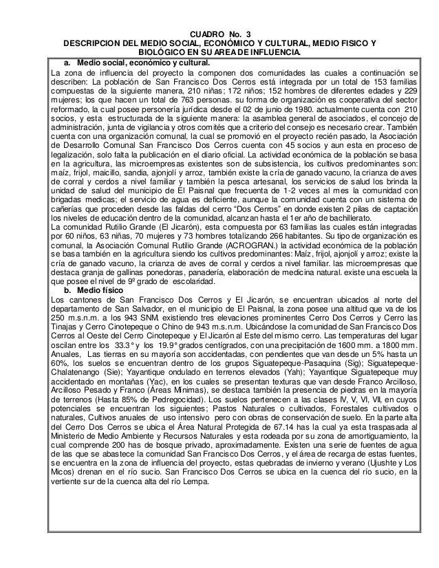 CUADRO No. 3 DESCRIPCION DEL MEDIO SOCIAL, ECONÓMICO Y CULTURAL, MEDIO FISICO Y BIOLÓGICO EN SU AREADE INFLUENCIA. a. Medi...