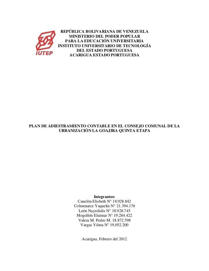 REPÚBLICA BOLIVARIANA DE VENEZUELA                MINISTERIO DEL PODER POPULAR              PARA LA EDUCACIÓN UNIVERSITARI...