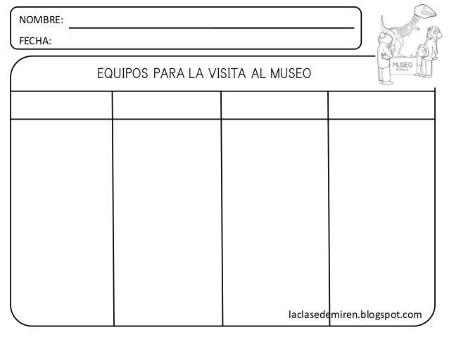 NOMBRE: FECHA: EQUIPOS PARA LA VISITA AL MUSEO laclasedemiren.blogspot.com