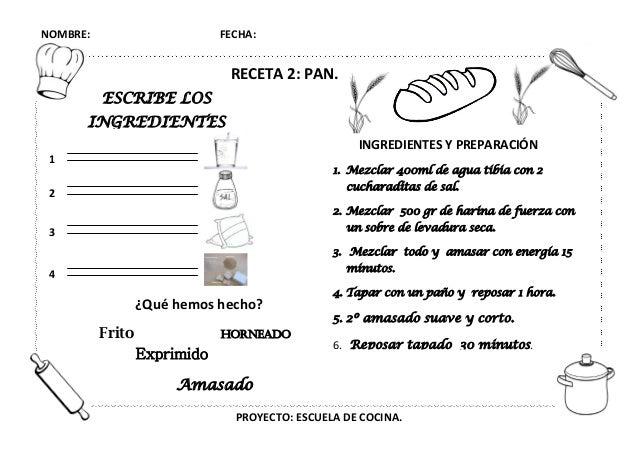Recetas De Cocina Infantiles   Proyecto Escuela De Cocina Fichas Y Otros Recursos