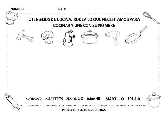 Proyecto escuela de cocina fichas y otros recursos - Utensilios de cocina para ninos ...