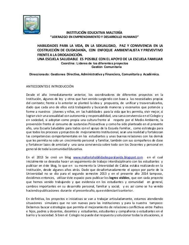 """INSTITUCIÓN EDUCATIVA MALTERÍA """"LIDERAZGO EN EMPRENDIMIENTO Y DESARROLLO HUMANO"""" HABILIDADES PARA LA VIDA, EN LA SEXUALIDA..."""