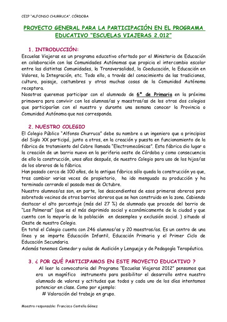"""CEIP """"ALFONSO CHURRUCA"""". CÓRDOBA PROYECTO GENERAL PARA LA PARTICIPACIÓN EN EL PROGRAMA          EDUCATIVO """"ESCUELAS VIAJER..."""