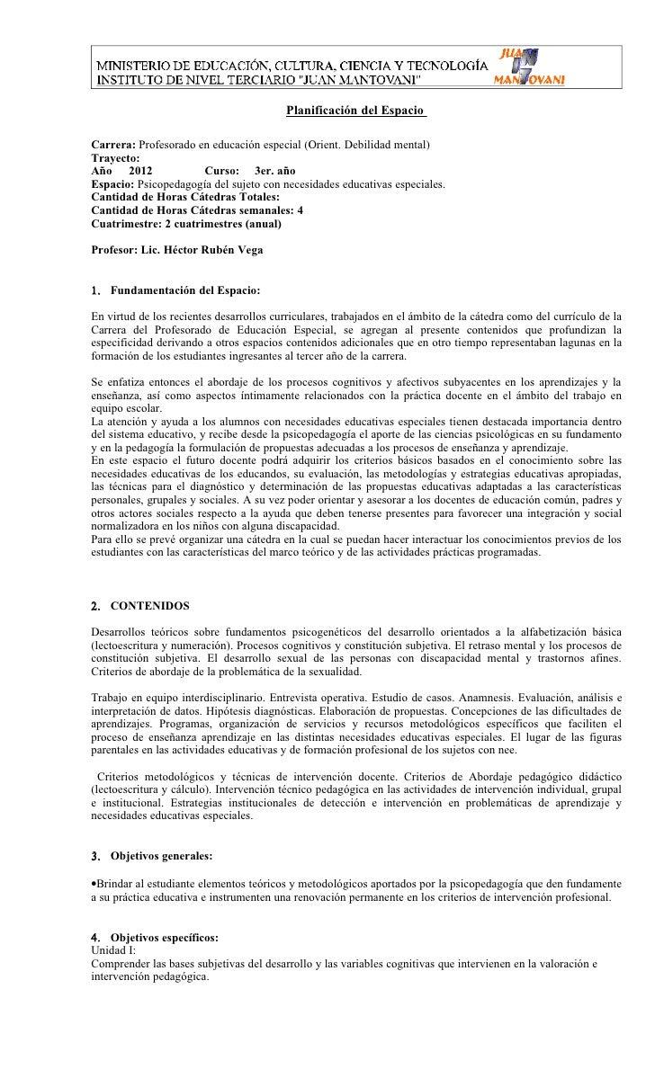 Planificación del EspacioCarrera: Profesorado en educación especial (Orient. Debilidad mental)Trayecto:Año 2012           ...