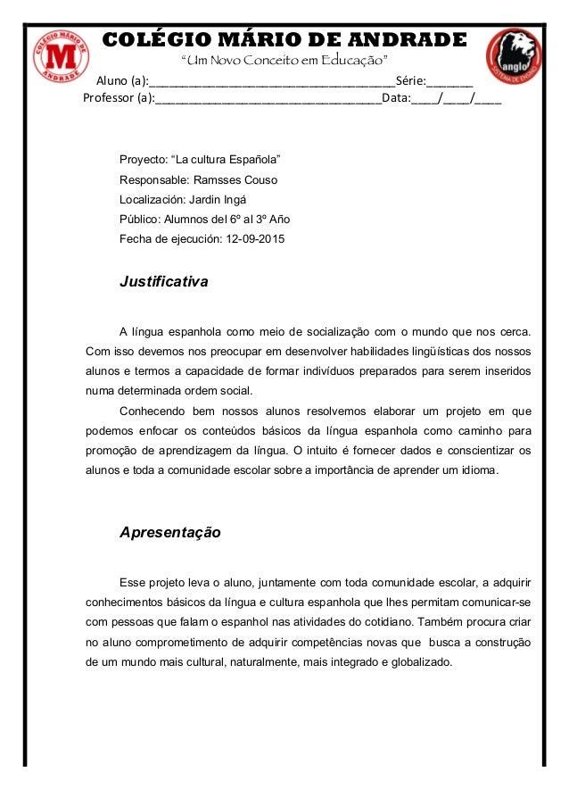 """COLÉGIO MÁRIO DE ANDRADE """"Um Novo Conceito em Educação"""" Aluno  (a):_____________________________________Série:_______  ..."""