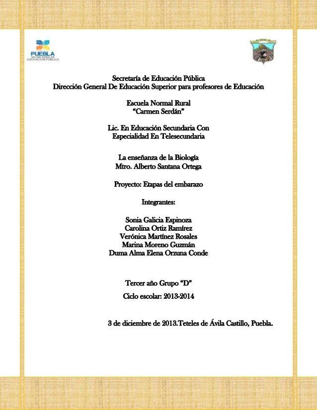 Proyecto: Etapas del embarazo  Secretaría de Educación Pública Dirección General De Educación Superior para profesores de ...