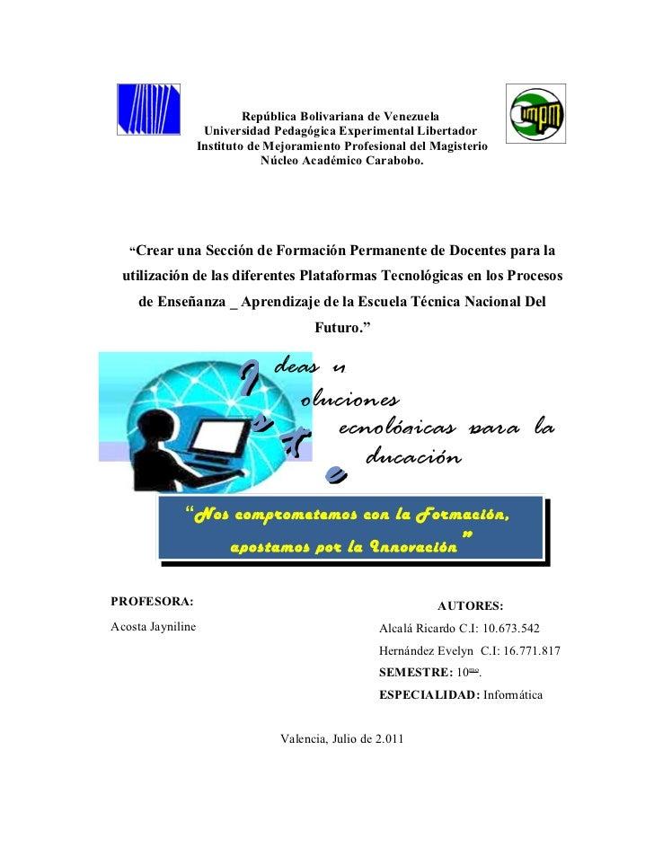 República Bolivariana de Venezuela                    Universidad Pedagógica Experimental Libertador                   Ins...