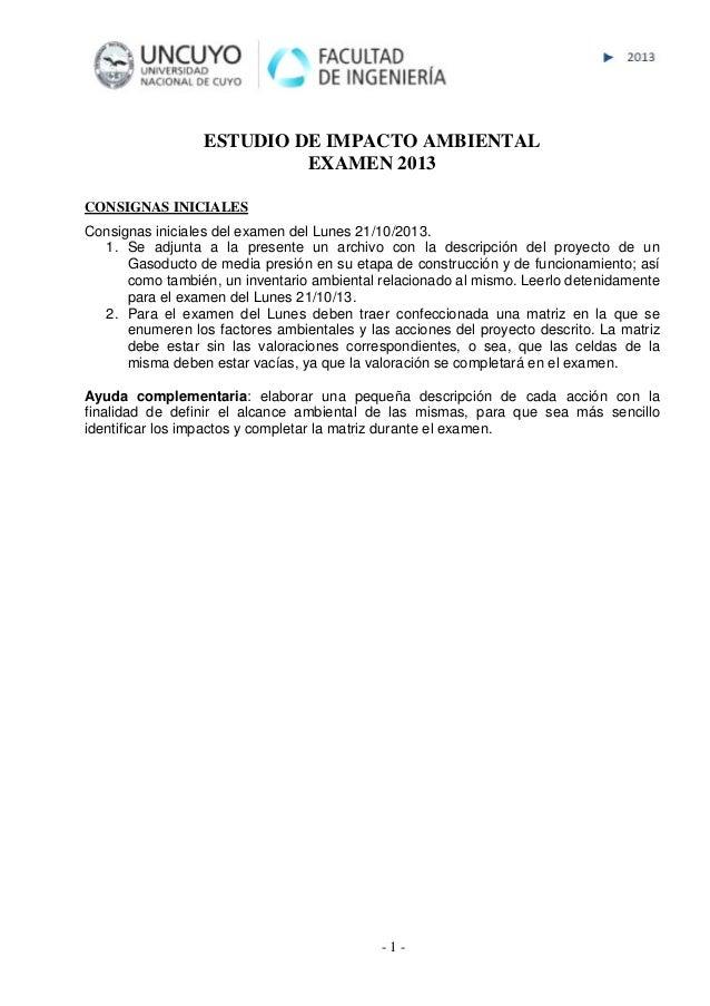 - 1 - ESTUDIO DE IMPACTO AMBIENTAL EXAMEN 2013 CONSIGNAS INICIALES Consignas iniciales del examen del Lunes 21/10/2013. 1....