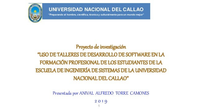 """Proyectode investigación """"USODE TALLERES DE DESARROLLODE SOFTWAREEN LA FORMACIÓNPROFESIONAL DE LOSESTUDIANTESDE LA ESCUELA..."""