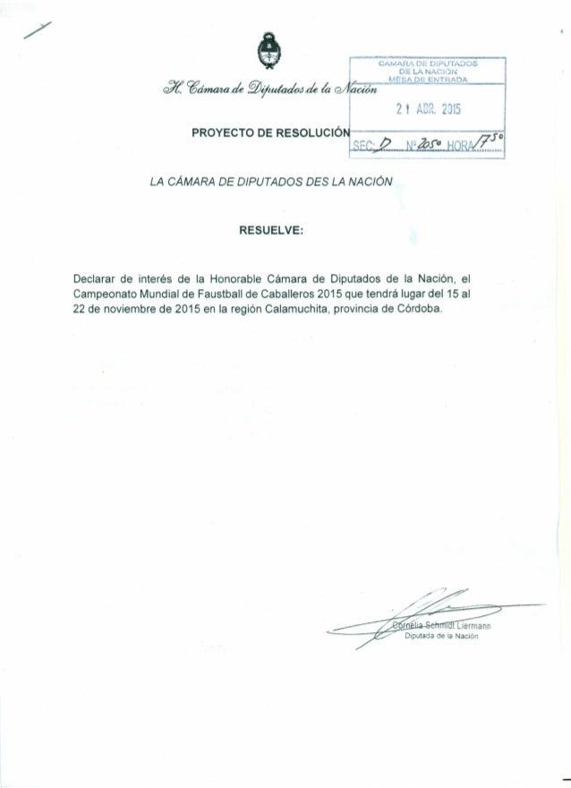 "CAMARA DE DIPUTADOS 0= LA NACiÓN MeSA DE ENTRADA J/í. ~~áe ~~de laC?/I(ü;¿;;-=~':"":'=~-¡ PROYECTODERESOLUCIÓM----------::-..."