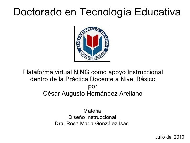 Plataforma virtual NING como apoyo Instruccional dentro de la Práctica Docente a Nivel Básico por César Augusto Hernández ...