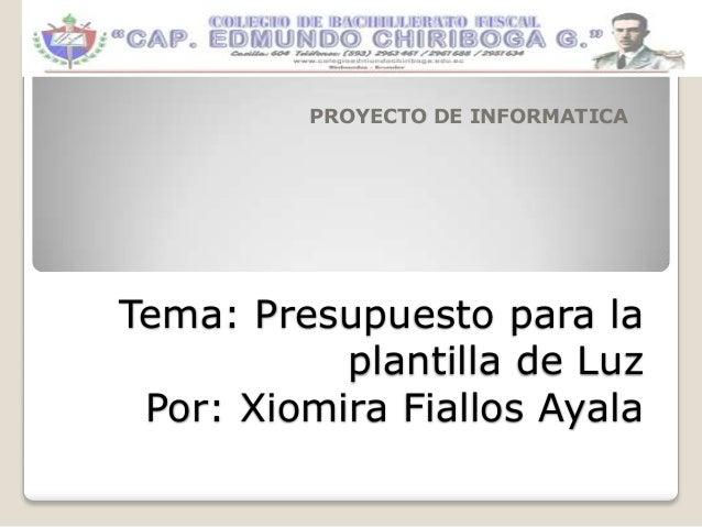 Tema: Presupuesto para laplantilla de LuzPor: Xiomira Fiallos AyalaPROYECTO DE INFORMATICA