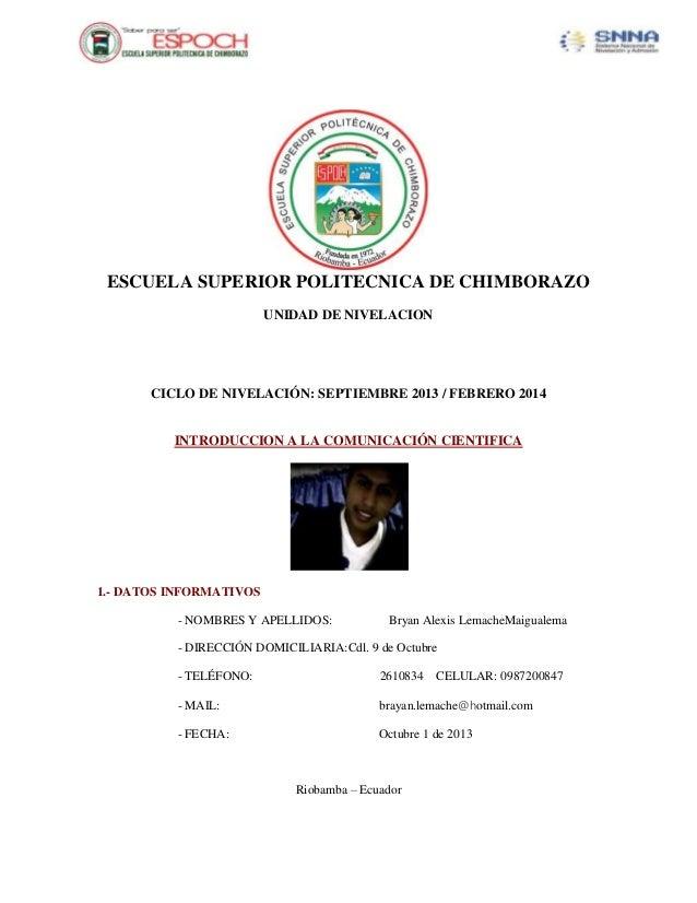 ESCUELA SUPERIOR POLITECNICA DE CHIMBORAZO UNIDAD DE NIVELACION  CICLO DE NIVELACIÓN: SEPTIEMBRE 2013 / FEBRERO 2014  INTR...