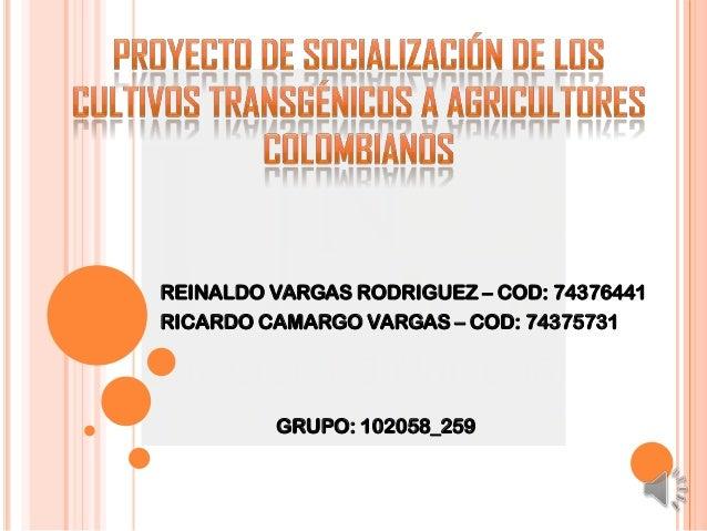 REINALDO VARGAS RODRIGUEZ – COD: 74376441 RICARDO CAMARGO VARGAS – COD: 74375731  GRUPO: 102058_259