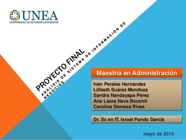Iván Perales Hernández Lilibeth Suárez Mendoza Sandra Nandayapa Pérez Ana Laura Nava Becerril Carolina Demesa Rivas Dr. Sc...