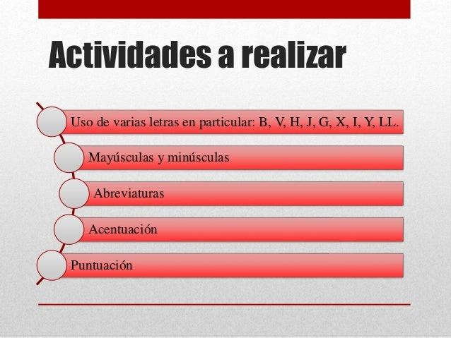 Actividades a realizar Uso de varias letras en particular: B, V, H, J, G, X, I, Y, LL. Mayúsculas y minúsculas Abreviatura...