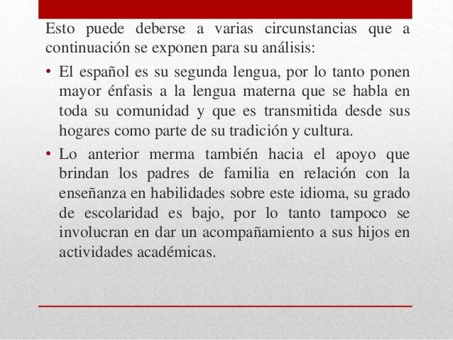 Esto puede deberse a varias circunstancias que a continuación se exponen para su análisis: • El español es su segunda leng...