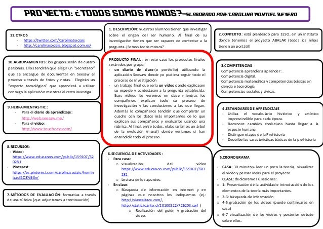 PROYECTO: ¿TODOS SOMOS MONOS?-Elaborado por: Carolina Montiel Reyero 3.COMPETENCIAS Competencia aprender a aprender: . Com...