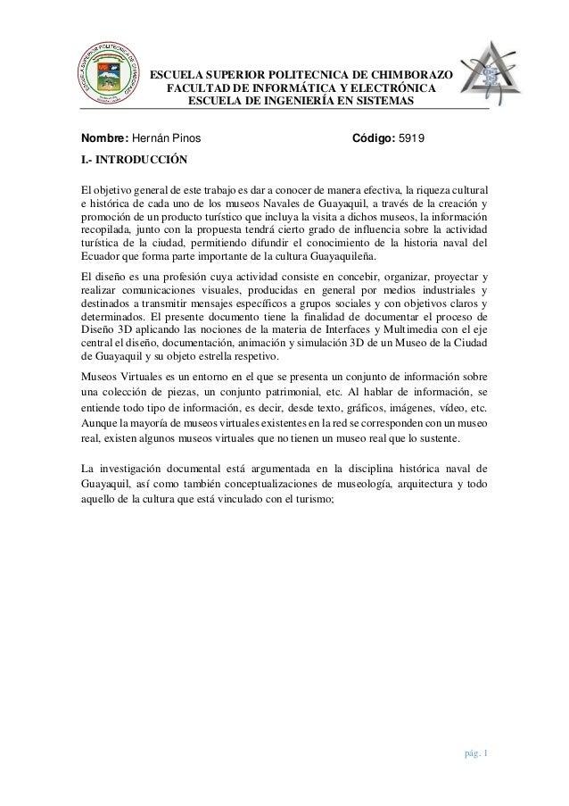 pág. 1 ESCUELA SUPERIOR POLITECNICA DE CHIMBORAZO FACULTAD DE INFORMÁTICA Y ELECTRÓNICA ESCUELA DE INGENIERÍA EN SISTEMAS ...