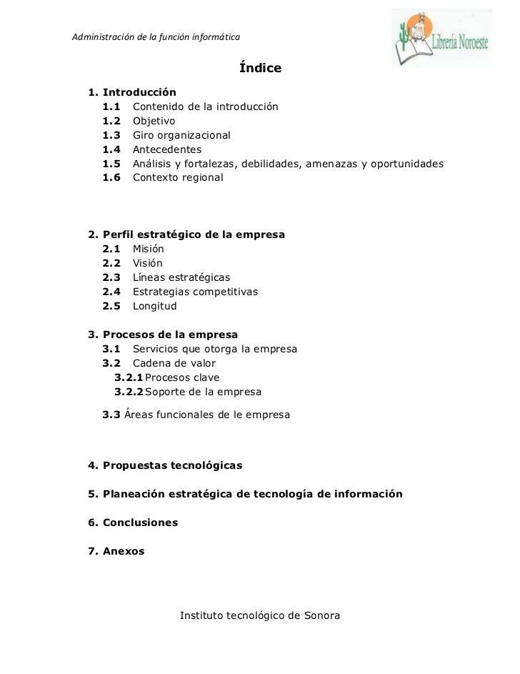 Administración de la función informática                                       Índice   1. Introducción      1.1 Contenido...