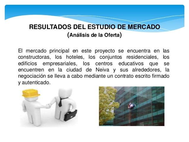 RESULTADOS DEL ESTUDIO DE MERCADO (Análisis de la Oferta) El mercado principal en este proyecto se encuentra en las constr...