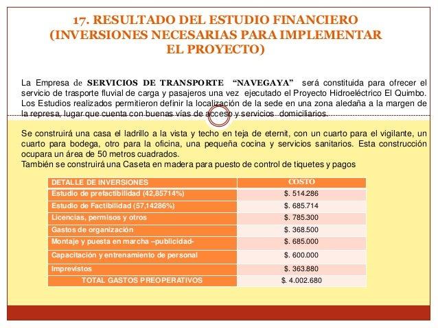 17. RESULTADO DEL ESTUDIO FINANCIERO       (INVERSIONES NECESARIAS PARA IMPLEMENTAR                      EL PROYECTO)La Em...