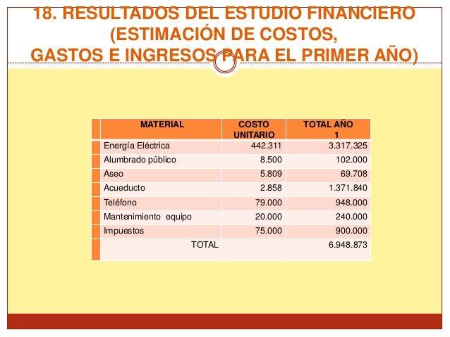 18. RESULTADOS DEL ESTUDIO FINANCIERO        (ESTIMACIÓN DE COSTOS,GASTOS E INGRESOS PARA EL PRIMER AÑO)                  ...