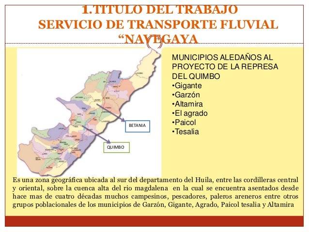 """1.TITULO DEL TRABAJO        SERVICIO DE TRANSPORTE FLUVIAL                  """"NAVEGAYA                                     ..."""