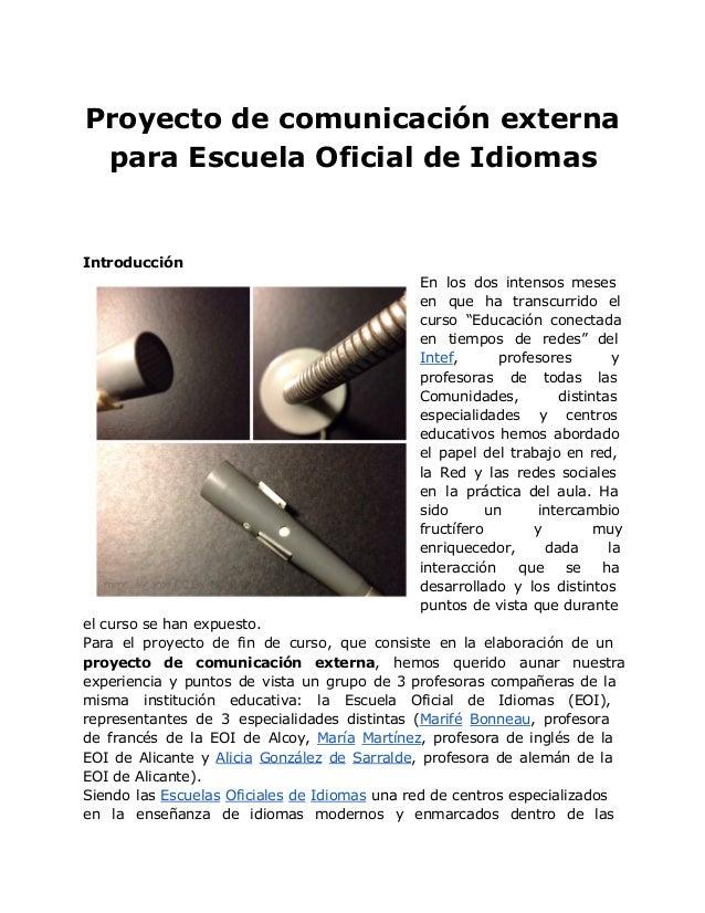 Plan de comunicaci n externo para escuela oficial de idiomas - Escuela oficial de idiomas inca ...