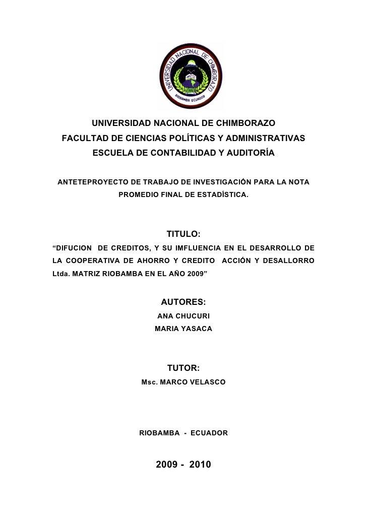 UNIVERSIDAD NACIONAL DE CHIMBORAZO   FACULTAD DE CIENCIAS POLÍTICAS Y ADMINISTRATIVAS          ESCUELA DE CONTABILIDAD Y A...