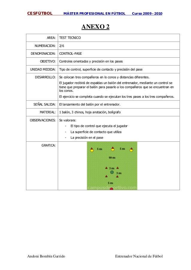 CESFÚTBOL MÁSTER PROFESIONAL EN FÚTBOL Curso 2009 - 2010 Andoni Bombín Garrido Entrenador Nacional de Fútbol AREA: ANEXO 2...