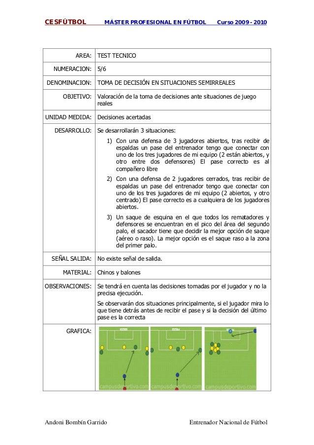 CESFÚTBOL MÁSTER PROFESIONAL EN FÚTBOL Curso 2009 - 2010 Andoni Bombín Garrido Entrenador Nacional de Fútbol AREA: TEST TE...