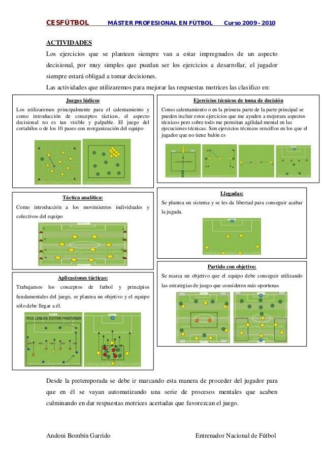 CESFÚTBOL MÁSTER PROFESIONAL EN FÚTBOL Curso 2009 - 2010 Andoni Bombín Garrido Entrenador Nacional de Fútbol ACTIVIDADES L...