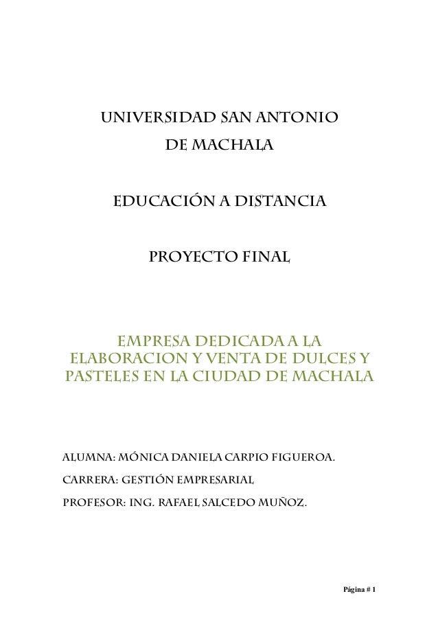 UNIVERSIDAD SAN ANTONIO               DE MACHALA       EDUCACIÓN A DISTANCIA            PROYECTO FINAL     EMPRESA DEDICAD...