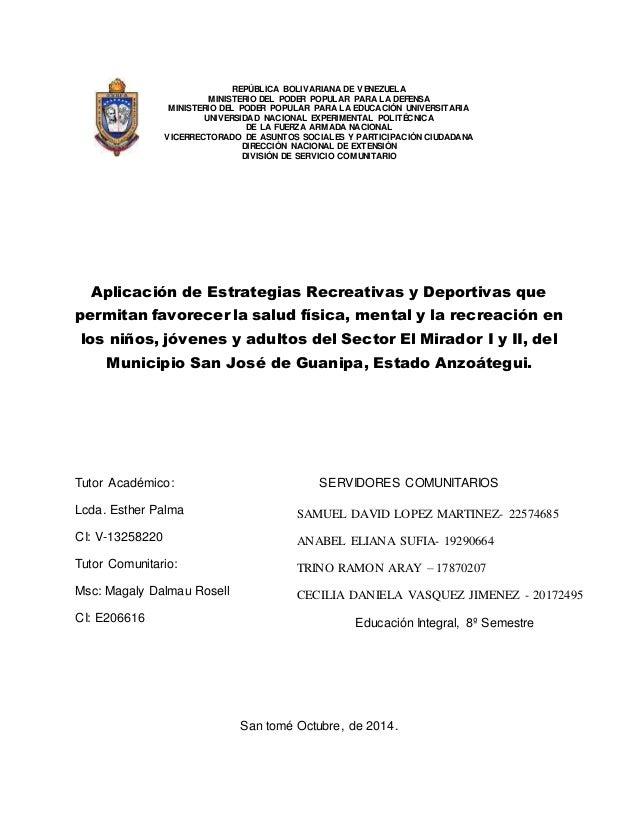 Proyecto Comunitario Carta Del Barrio Venezuela