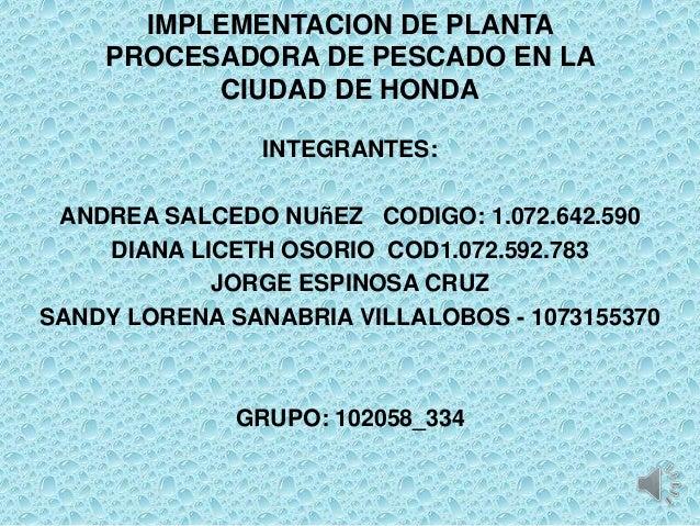 IMPLEMENTACION DE PLANTA    PROCESADORA DE PESCADO EN LA          CIUDAD DE HONDA                INTEGRANTES: ANDREA SALCE...