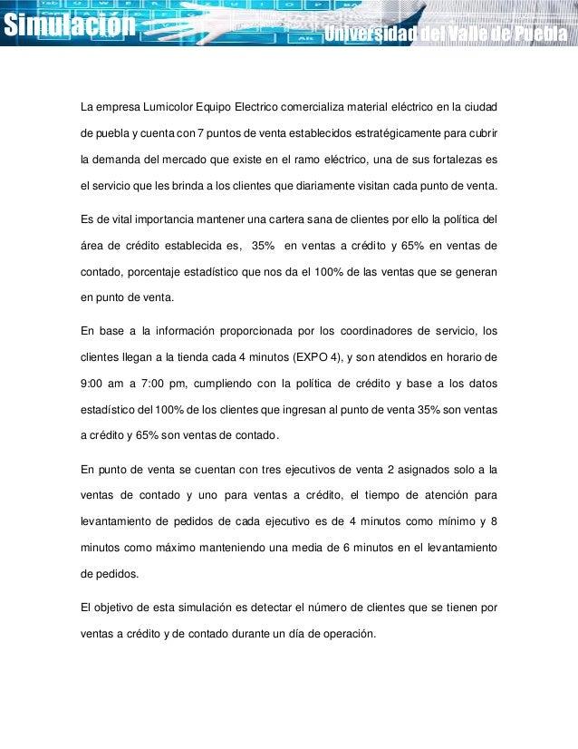 Simulación Universidad del Valle de Puebla La empresa Lumicolor Equipo Electrico comercializa material eléctrico en la ciu...