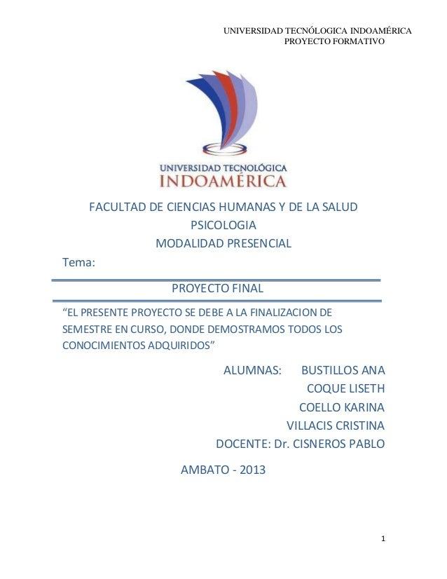 UNIVERSIDAD TECNÓLOGICA INDOAMÉRICA PROYECTO FORMATIVO 1 FACULTAD DE CIENCIAS HUMANAS Y DE LA SALUD PSICOLOGIA MODALIDAD P...