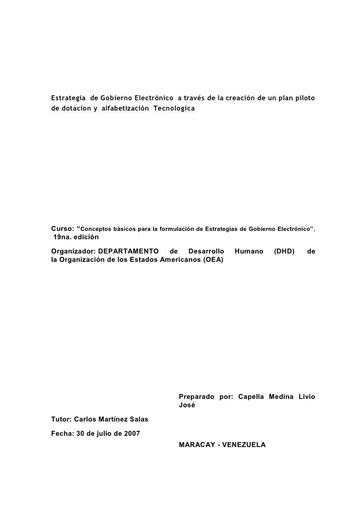 Estrategia de Gobierno Electrónico a través de la creación de un plan piloto de dotacion y alfabetización Tecnologica     ...