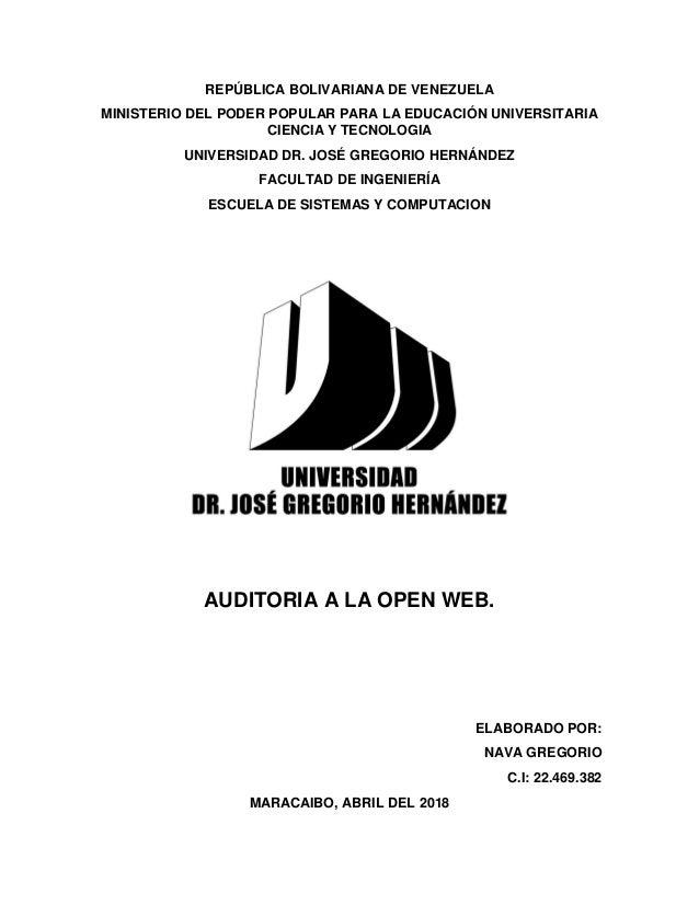 REPÚBLICA BOLIVARIANA DE VENEZUELA MINISTERIO DEL PODER POPULAR PARA LA EDUCACIÓN UNIVERSITARIA CIENCIA Y TECNOLOGIA UNIVE...