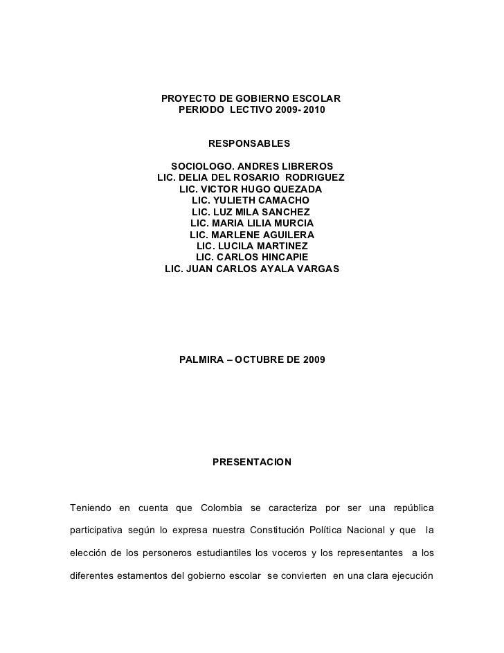 Proyecto Gobierno Escolar 2009 2010