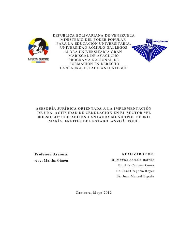 REPUBLICA BOLIVARIANA DE VENEZUELA            MINISTERIO DEL PODER POPULAR          PARA LA EDUCACIÓN UNIVERSITARIA.      ...