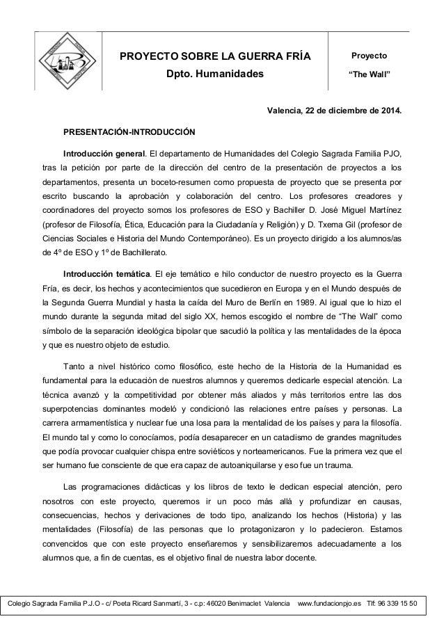 Colegio Sagrada Familia P.J.O - c/ Poeta Ricard Sanmartí, 3 - c.p: 46020 Benimaclet Valencia www.fundacionpjo.es Tlf: 96 3...