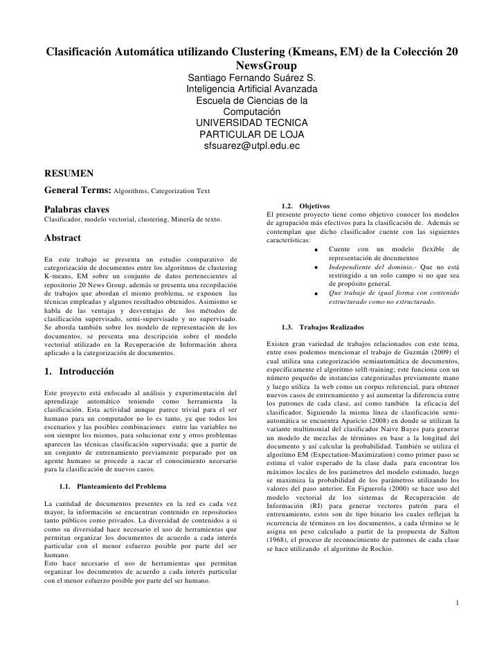 Clasificación Automática utilizando Clustering (Kmeans, EM) de la Colección 20 NewsGroup<br />Santiago Fernando Suárez S.<...