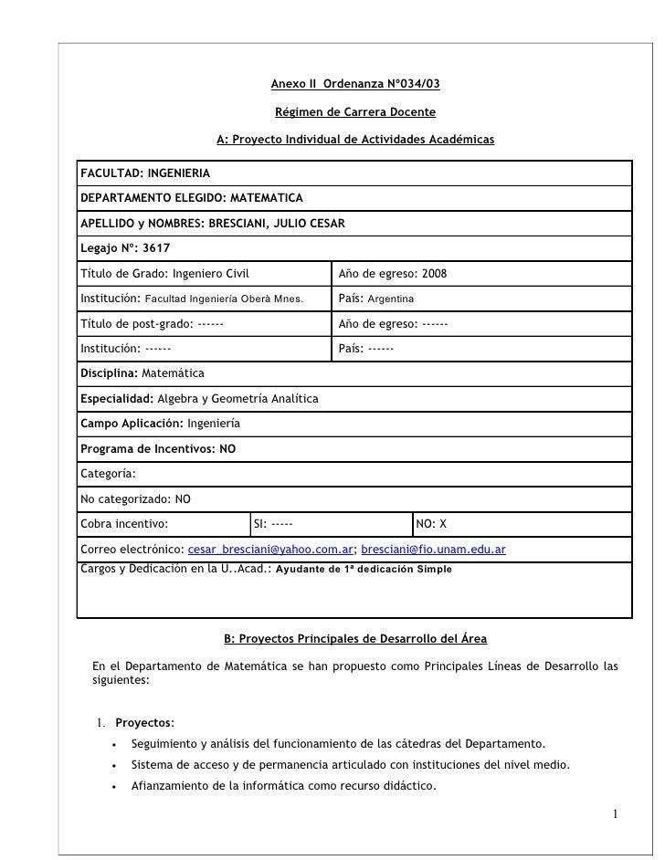 Anexo II Ordenanza Nº034/03                                          Régimen de Carrera Docente                           ...