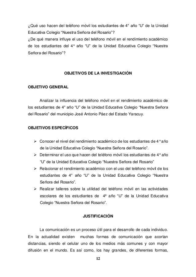 """12 ¿Qué uso hacen del teléfono móvil los estudiantes de 4° año """"U"""" de la Unidad Educativa Colegio """"Nuestra Señora del Rosa..."""